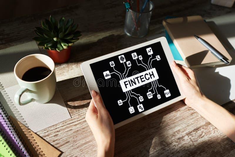 FIntech Pieniężna technologia, internet zapłata i cyfrowy pieniądze pojęcie -, zdjęcia stock