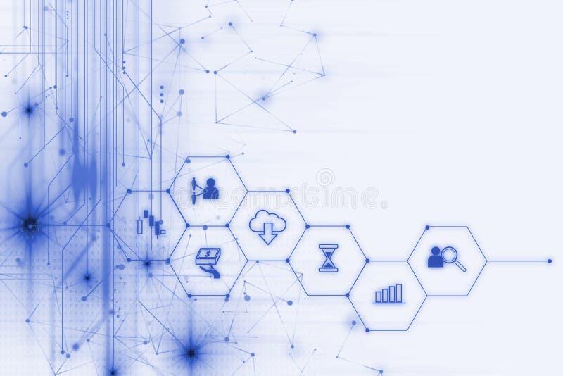 Fintech symbol på abstrakt finansiell teknologibakgrund royaltyfri illustrationer