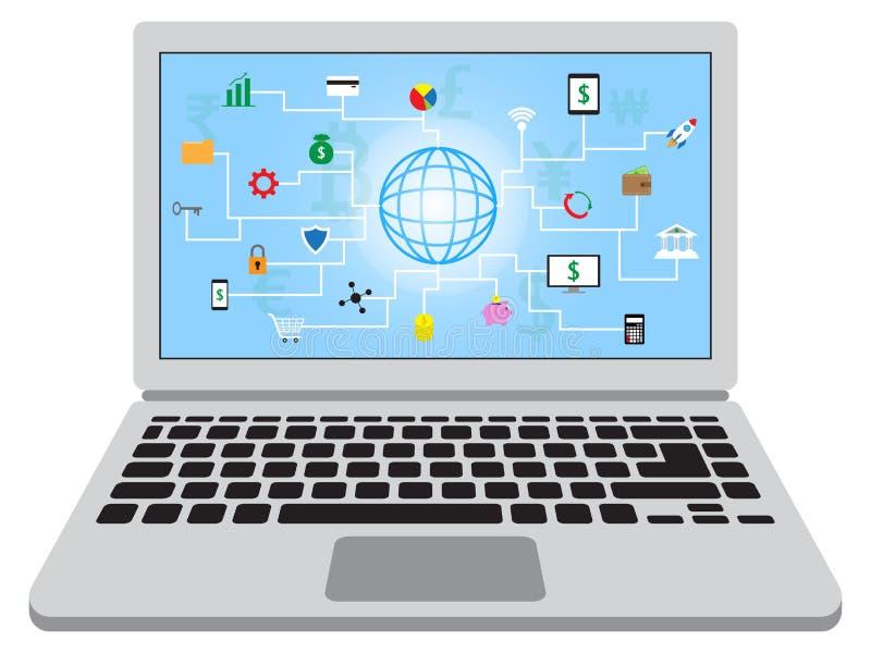 Fintech symboler i bärbar dator royaltyfri illustrationer