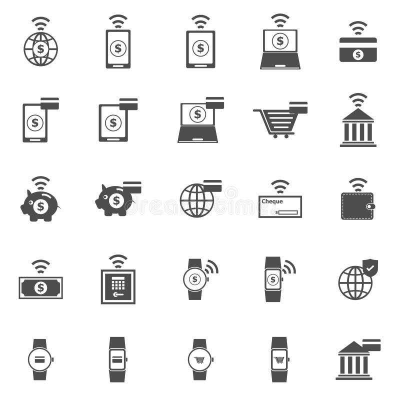 Fintech symboler på vit bakgrund royaltyfri illustrationer
