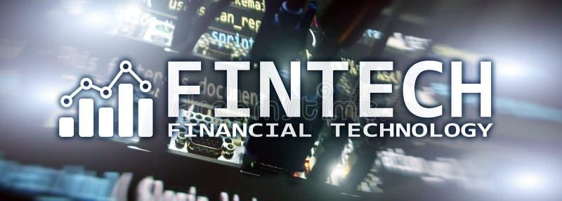 Fintech - technologie financière Solution d'affaires et développement de logiciel images stock