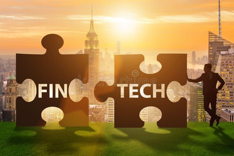 Fintech technologii pieniężny pojęcie z łamigłówka kawałkami zdjęcia stock