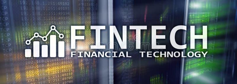 Fintech - tecnolog?a financiera Soluci?n del negocio y desarrollo de programas ilustración del vector