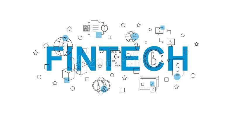 Fintech-Vektorfahne Wort mit Linie Ikone lizenzfreie abbildung