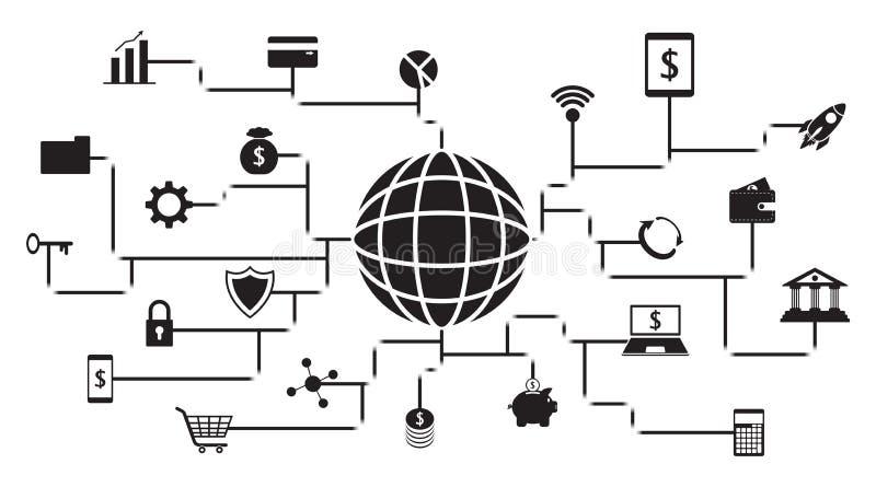 Fintech Zwarte Pictogrammen rond een Bol op Witte Achtergrond vector illustratie