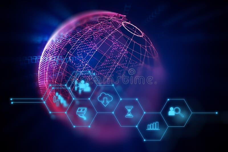 Fintechpictogram op abstracte financiële technologieachtergrond stock illustratie