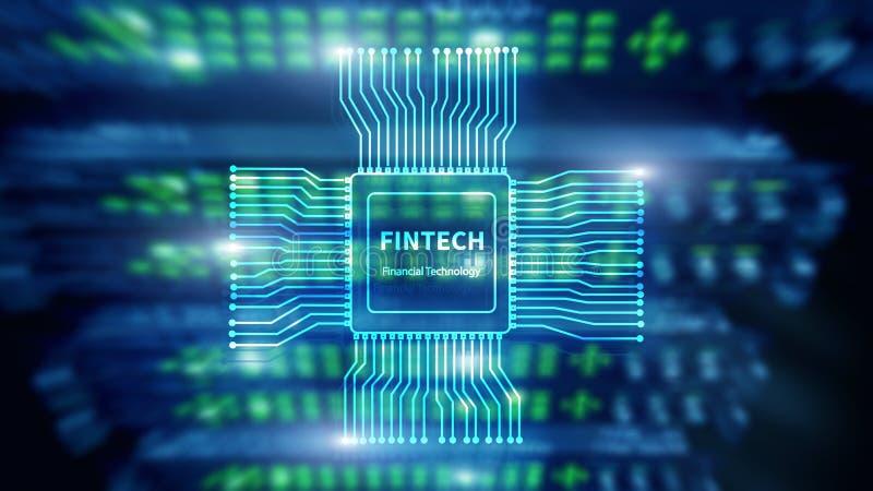 Fintechpictogram op abstracte financi?le technologieachtergrond Cpu-pictogram op de vage achtergrond van de serverruimte datacent stock afbeeldingen
