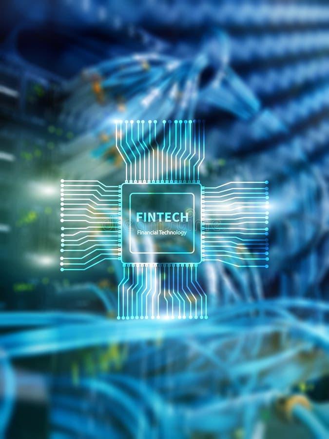Fintechpictogram op abstracte financi?le technologieachtergrond Cpu-pictogram op de vage achtergrond van de serverruimte datacent stock afbeelding