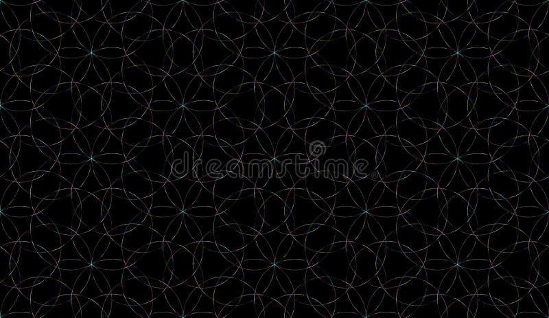 Fintvätt, sömlös bakgrund Abstrakt ornament för upprepande glödande cirklar Fönster av digitalt färgat glas stock illustrationer