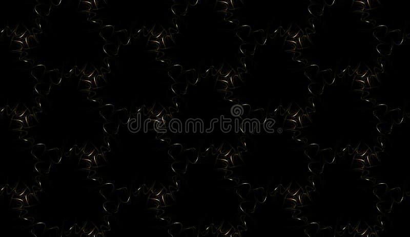 Fintvätt sömlöst mönster på svart bakgrund Abstrakt ornament för upprepande glödande spiraler stock illustrationer