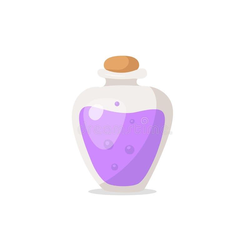 Fiołkowa butelka napój miłosny ilustracji