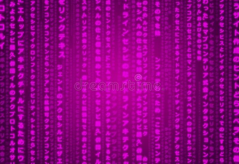 Fiołkowa Matrycowa Japońska Futurystyczna Ciemna Purpurowa Techno Cyfrowy tekstury tła ilustraci Orientalna Ornamentacyjna Deseni ilustracja wektor