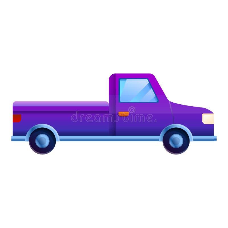 Fiołkowa pickup ikona, kreskówka styl ilustracji
