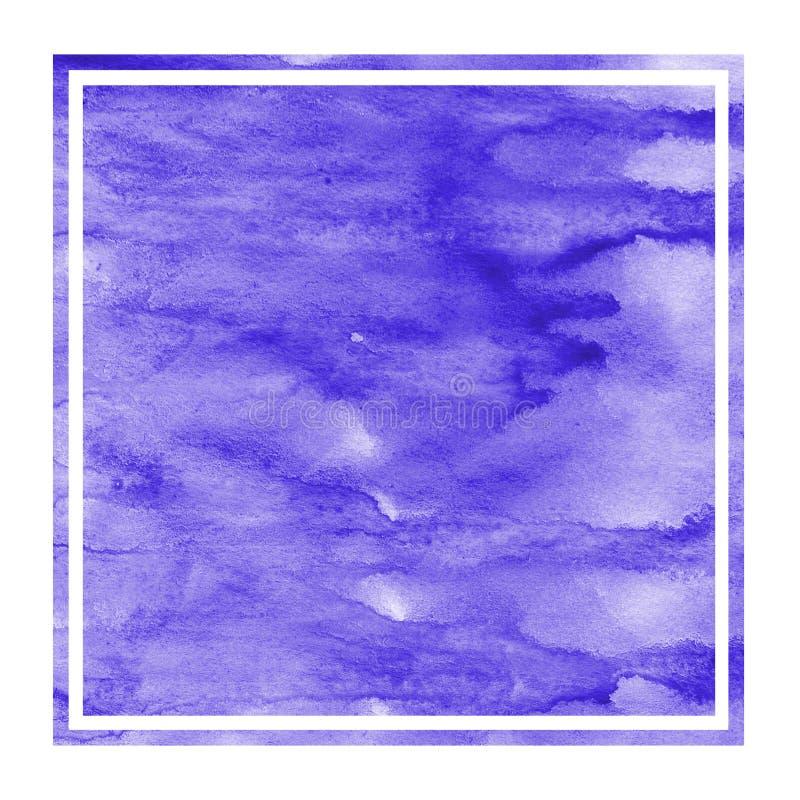 Fiołkowa ręka rysująca akwareli tła prostokątna ramowa tekstura z plamami zdjęcia stock