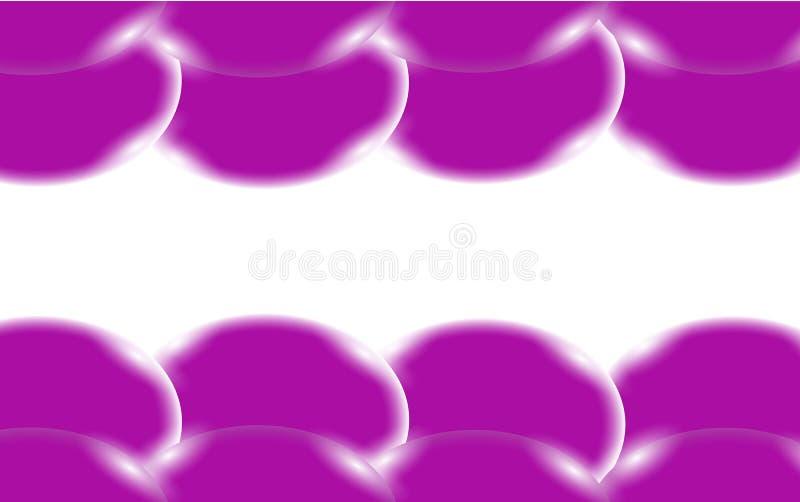 Fiołkowe abstrakcjonistyczne błyszczące piękne i wypukłe gładkie wolumetryczne proste piłki, bąble, okręgi z świeceniem lokalizow ilustracja wektor