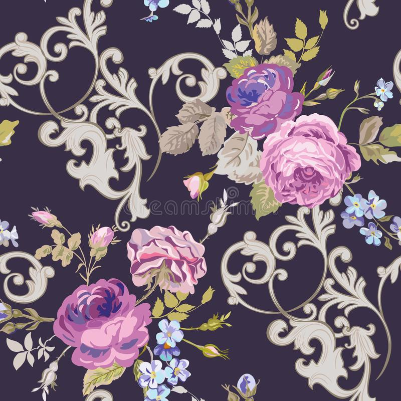 Fiołkowe róże Barocco Kwitną tło fiołka Bezszwowy Kwiecisty renesansu wzór royalty ilustracja