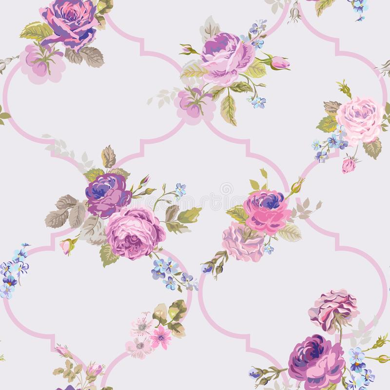 Fiołkowe róże Barocco Kwitną tło fiołka Bezszwowy Kwiecisty renesansu wzór ilustracja wektor