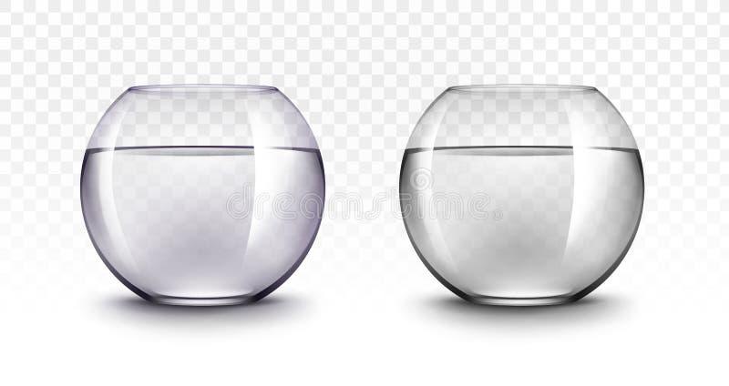 Fiołkowi Czarni Przejrzyści Szklani Fishbowls akwaria ilustracja wektor