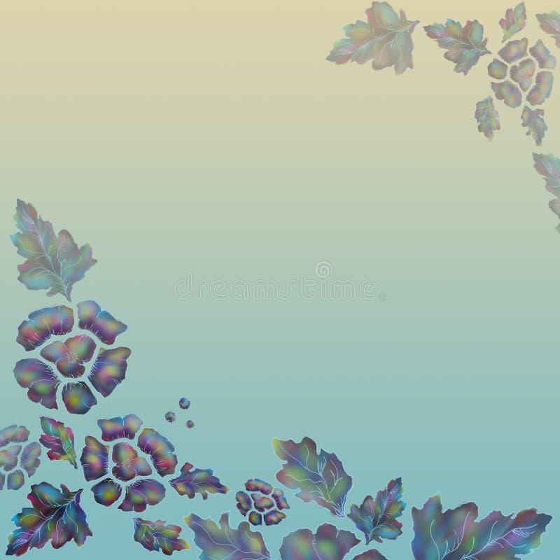 Fiołkowi kwiaty stylowy batik na koloru tle ilustracji