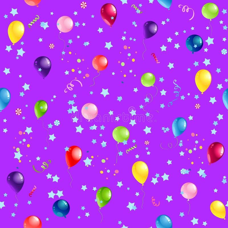 Fiołkowy wszystkiego najlepszego z okazji urodzin wzór ilustracja wektor