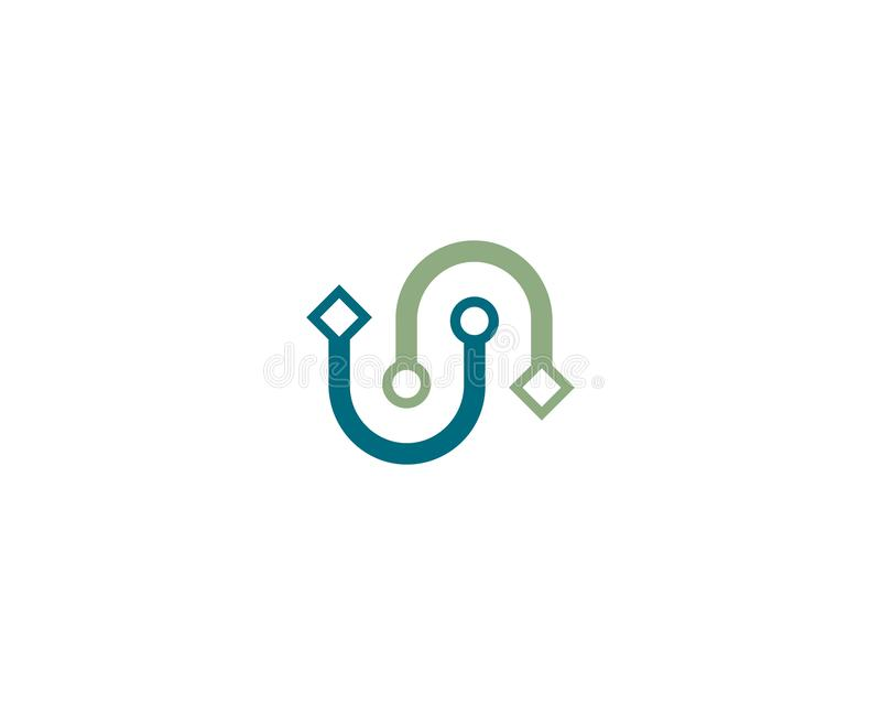 Fio, ícone do logotipo do cabo ilustração royalty free