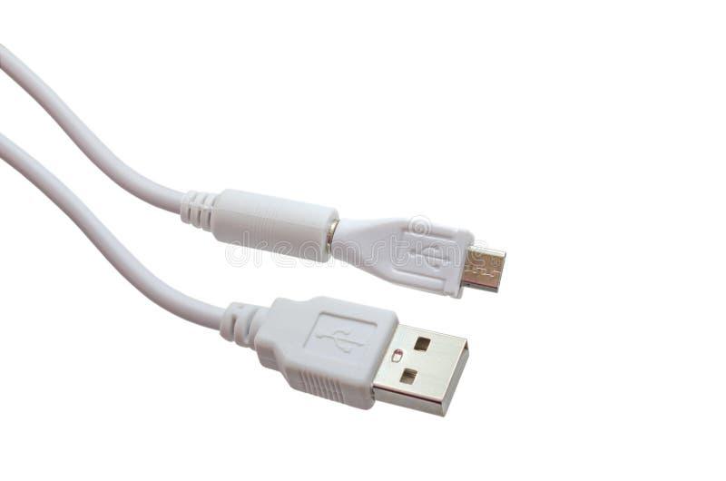 Fio branco USB micro USB isolado no fundo branco O trajeto selecionado foto de stock royalty free