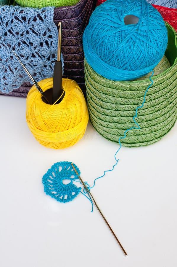 Equipamento do Crochet imagem de stock