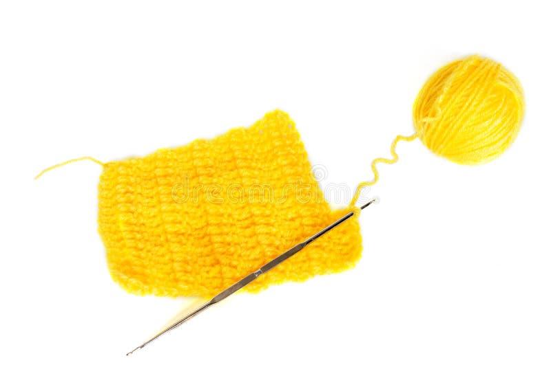 Fio de lãs com trabalho do crochet imagem de stock royalty free