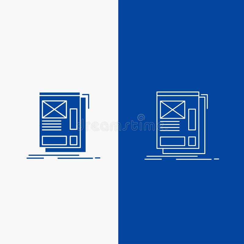 fio, quadro, Web, disposição, botão da Web da linha do desenvolvimento e do Glyph na bandeira vertical da cor azul para UI e UX,  ilustração stock