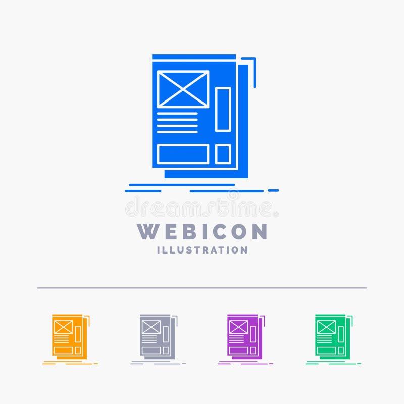 fio, quadro, Web, disposição, molde do ícone da Web do Glyph da cor do desenvolvimento 5 isolado no branco Ilustra??o do vetor ilustração royalty free