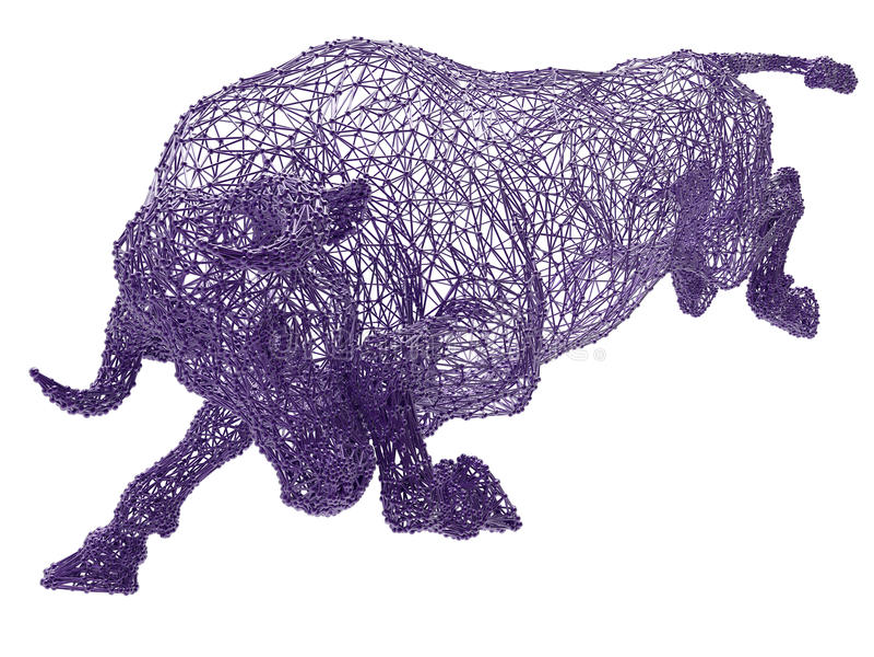 Fio roxo touro quadro ilustração stock