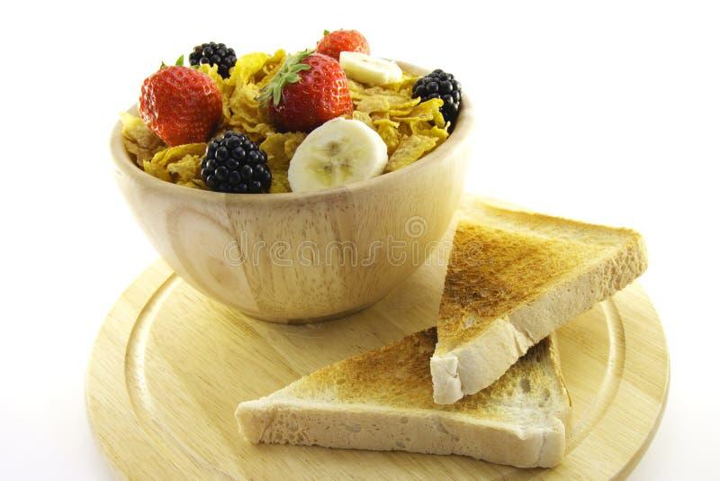 Fiocchi di granturco e pane tostato immagine stock