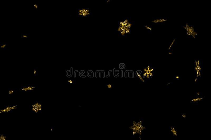 Fiocchi di neve astratti di natale della scintilla di scintillio dell'oro che cadono neve dalla cima, ciclo senza cuciture di nat illustrazione vettoriale