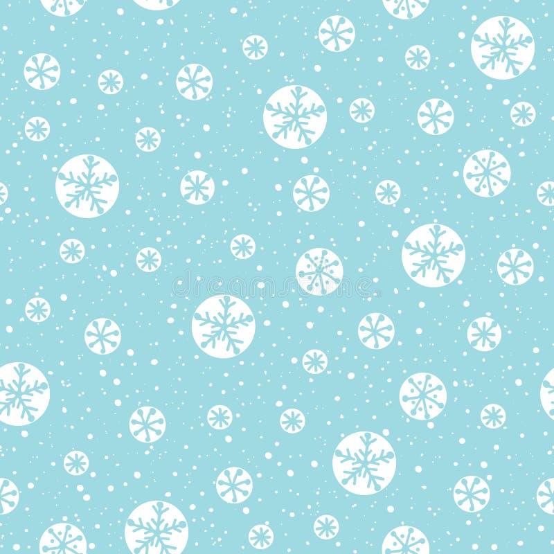 Fiocchi di neve astratti disegnati a mano di natale bianco sul modello senza cuciture di vettore del fondo del blu di ghiaccio No illustrazione vettoriale