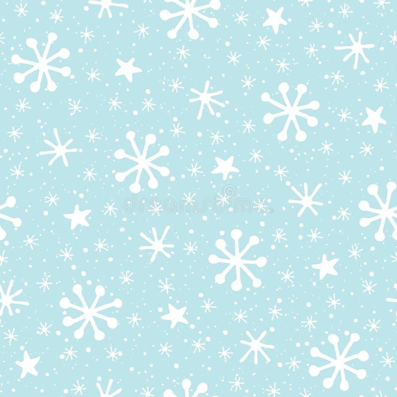 Fiocchi di neve astratti disegnati a mano di natale bianco sul modello senza cuciture di vettore del fondo del blu di ghiaccio Va illustrazione di stock