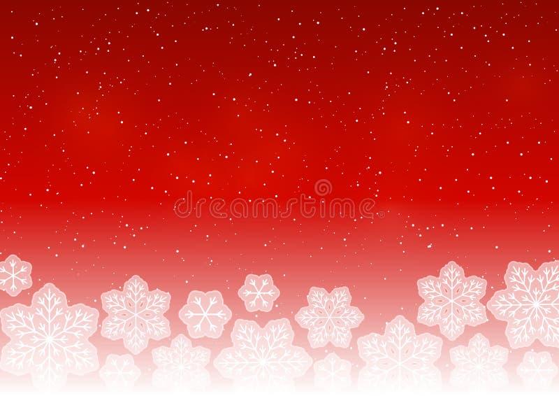 Fiocchi di neve bianchi su colore rosso royalty illustrazione gratis