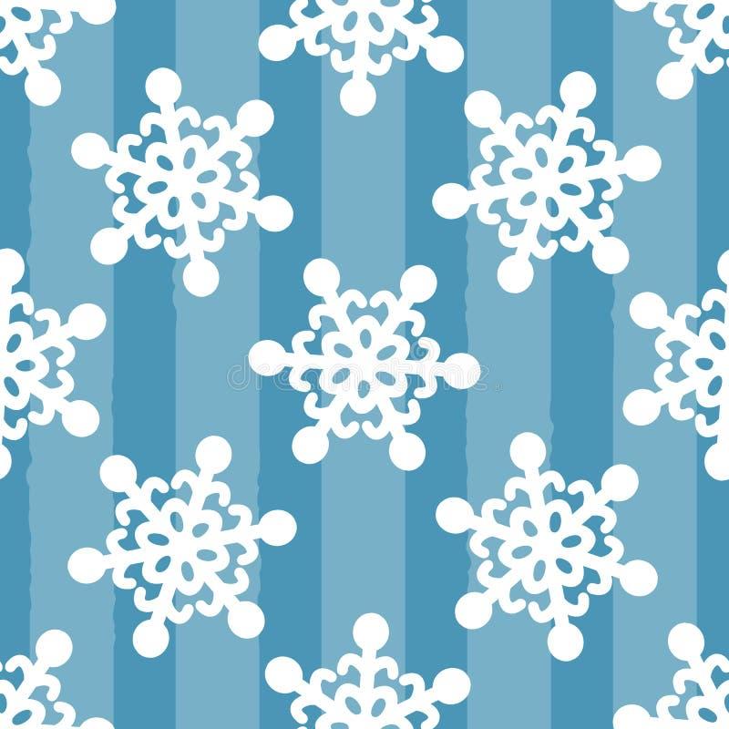 Fiocchi di neve bianchi su fondo blu a strisce Disegnato a mano Reticolo senza giunte illustrazione di stock