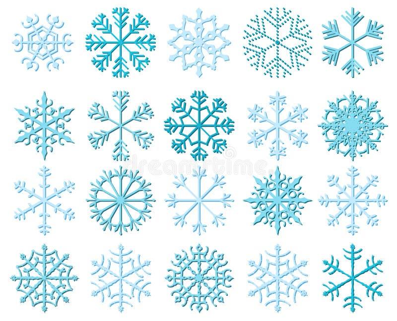 Fiocchi di neve bianchi di vettore con le ombre illustrazione di stock