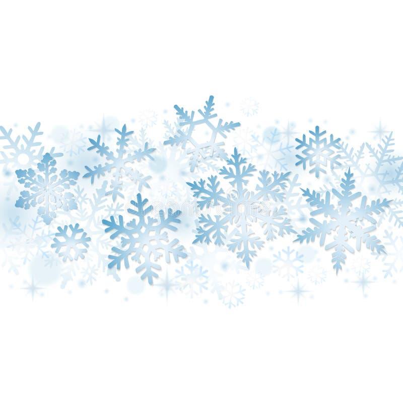 Fiocchi di neve blu di natale illustrazione di stock