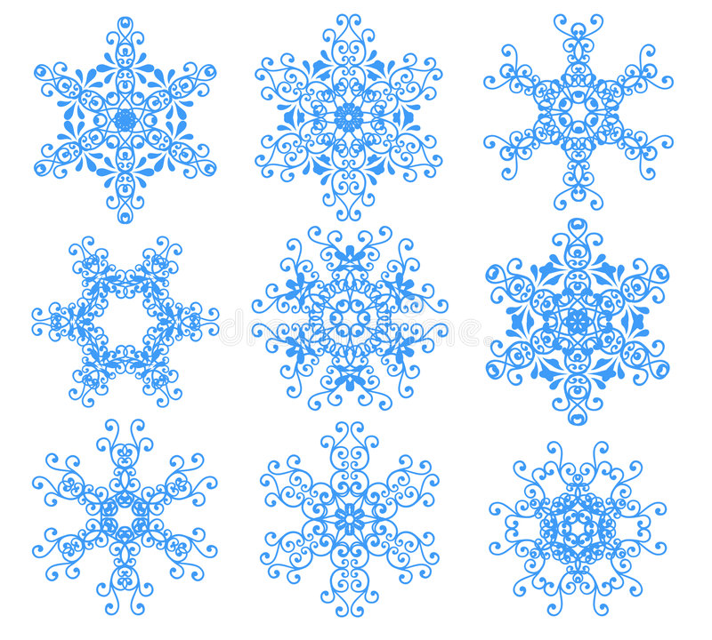 Fiocchi di neve blu sopra bianco. illustrazione di stock