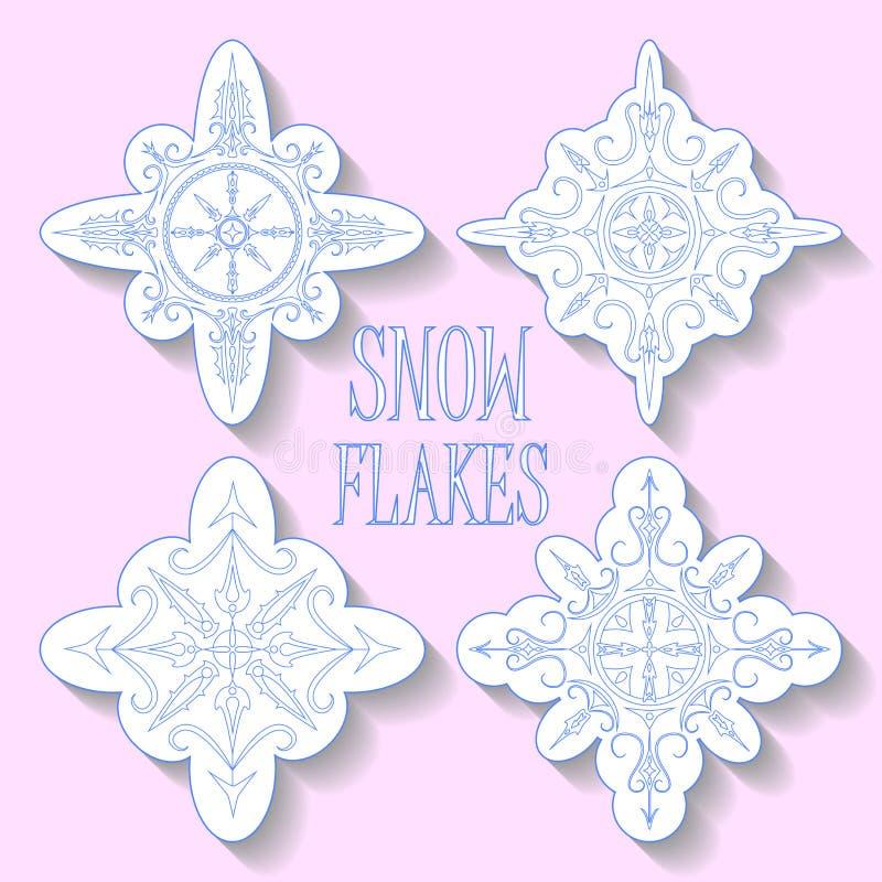 Fiocchi di neve blu su fondo rosa Clipart di vettore per tipografia illustrazione vettoriale