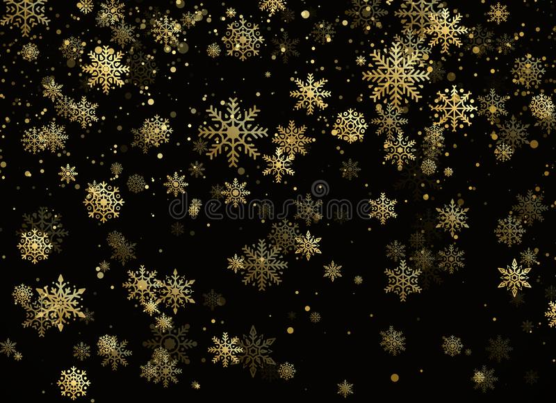 Fiocchi di neve di caduta dell'oro Precipitazioni nevose dorate Modello di Natale e del nuovo anno con i fiocchi di neve dorati s illustrazione di stock