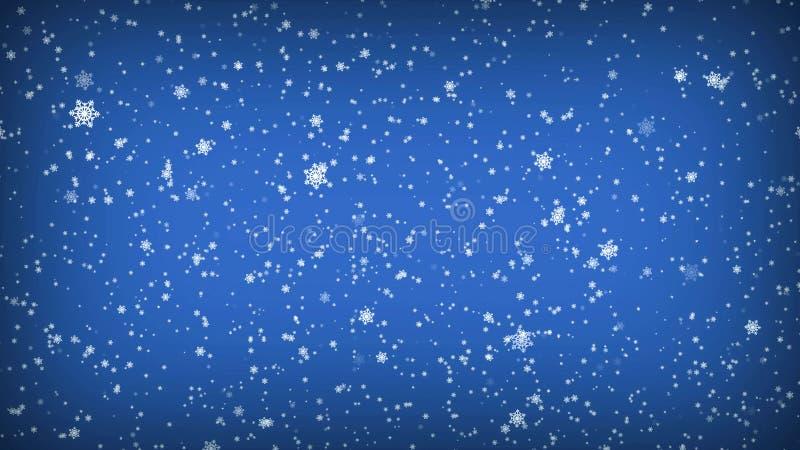Fiocchi di neve di caduta su una priorità bassa blu Illustrazione di Natale illustrazione vettoriale