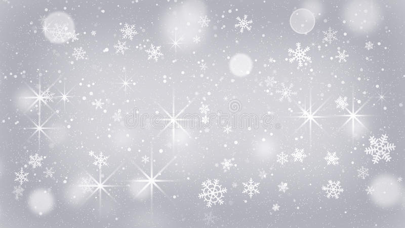 Fiocchi di neve d'argento e fondo astratto delle stelle illustrazione di stock