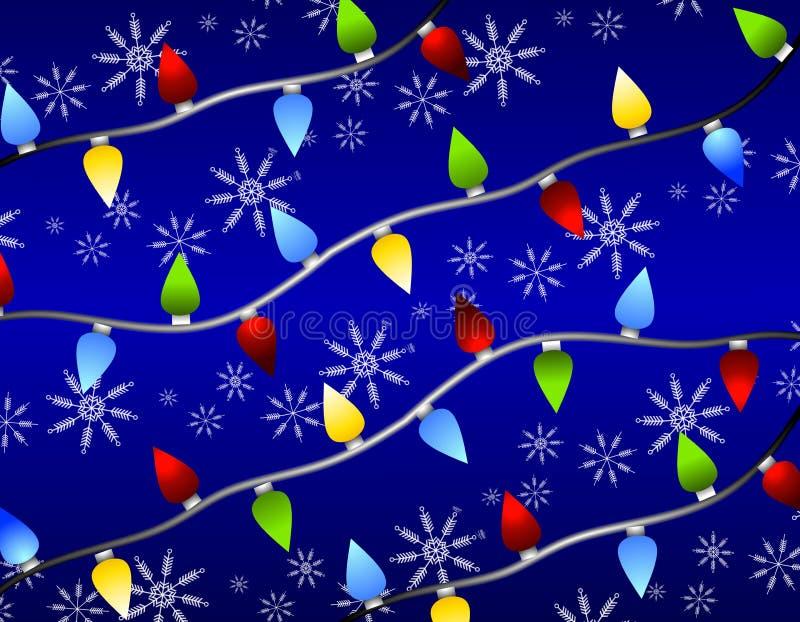 Fiocchi di neve degli indicatori luminosi di natale illustrazione di stock