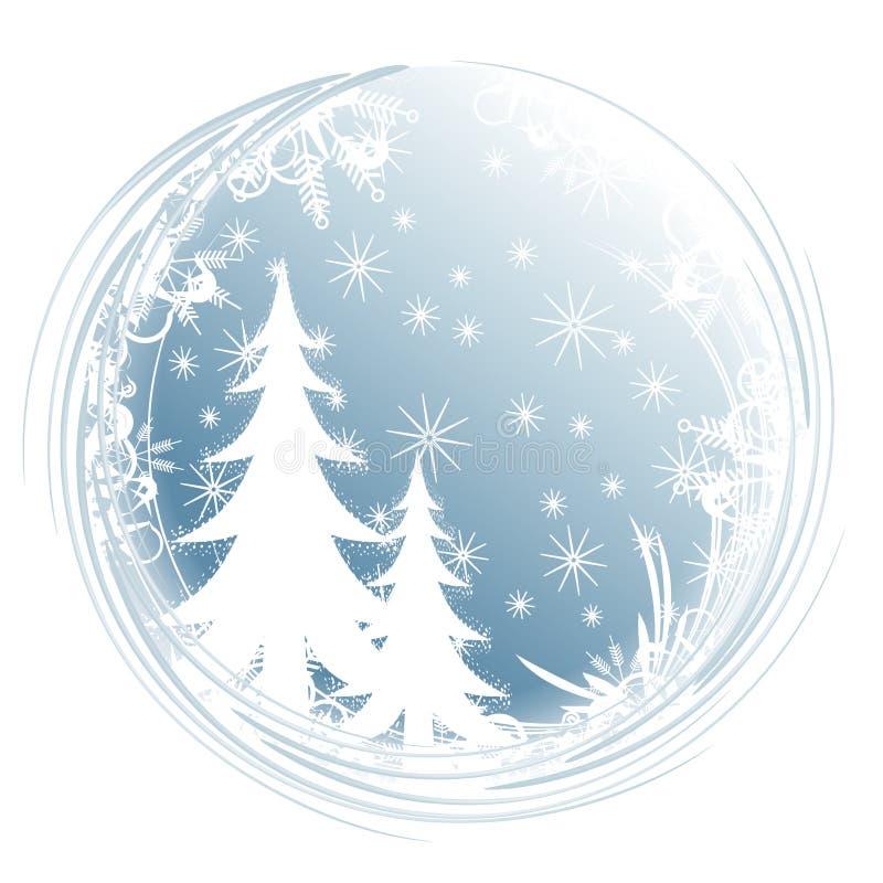 Fiocchi di neve dell'albero della siluetta illustrazione vettoriale