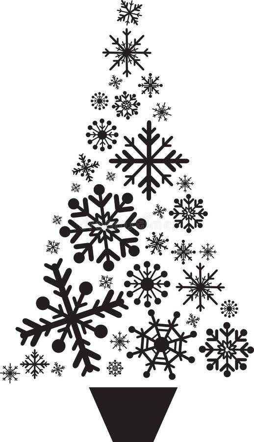 Fiocchi di neve dell'albero di Natale illustrazione di stock