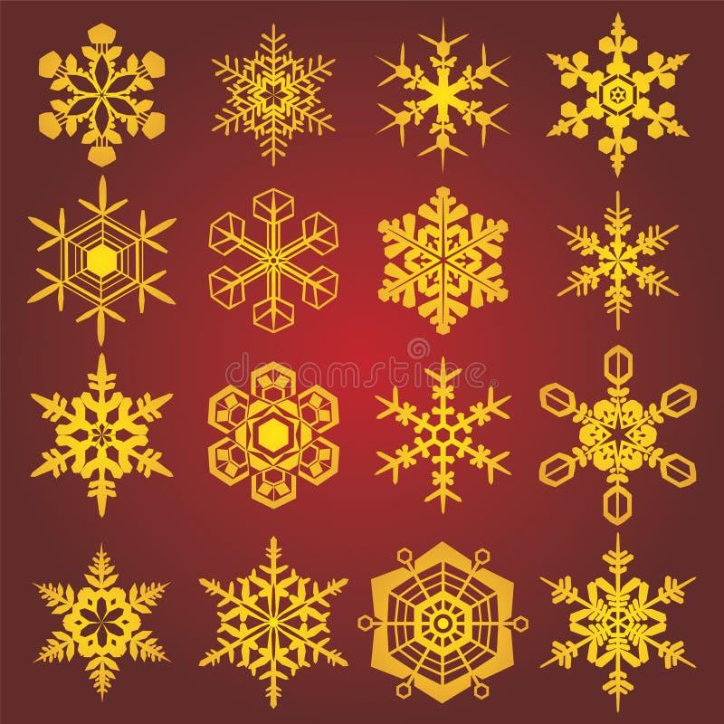 Fiocchi di neve dell'oro illustrazione vettoriale