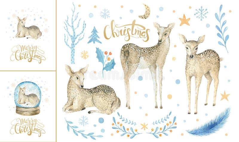 Fiocchi di neve di Buon Natale e cervi del bambino Illust disegnato a mano del fawn illustrazione di stock
