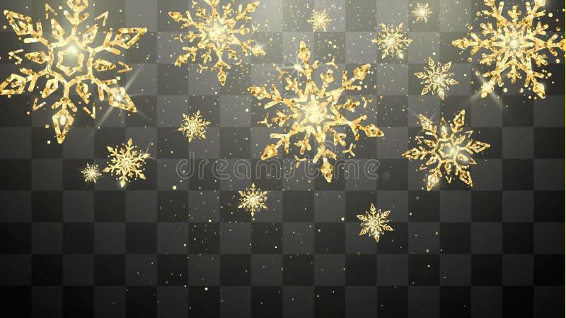 Fiocchi di neve dorati festivi isolati su fondo trasparente Decorazione magica del nuovo anno EVE e di Natale Carta di festa di f illustrazione vettoriale